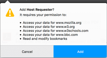Example of the permissions message when host permission for four websites as requested