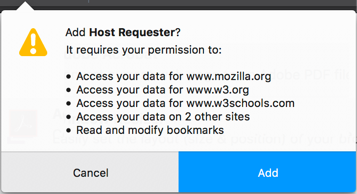 Example of the permissions message when hosts permission for 5 or more website is requested