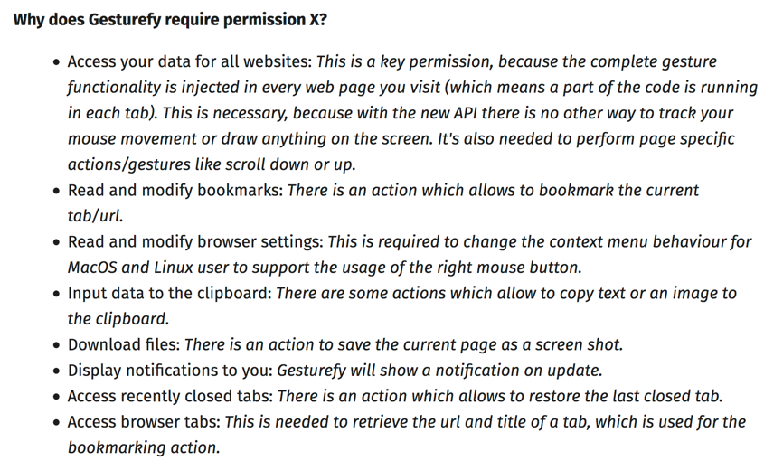 Extract from Gesturefy's AMO description providing information on the permissions requested by this extension